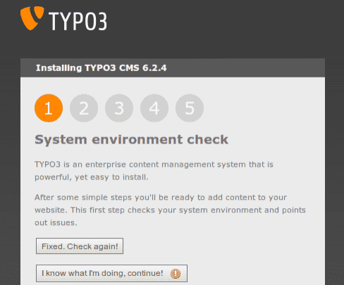 Fehlerhafter TYPO3 System environment check